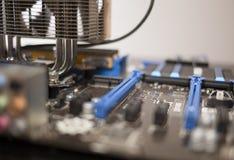 Blauwe motherboard stock foto