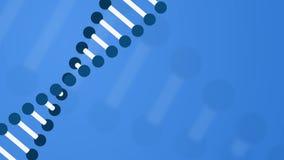 Blauwe motieachtergrond met roterend DNA-koord