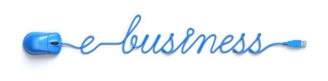 Blauwe muis en kabel in de vorm van e-businesswoord Stock Foto's