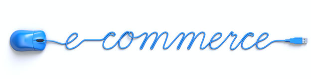 Blauwe muis en kabel in de vorm van elektronische handelwoord Royalty-vrije Stock Afbeeldingen