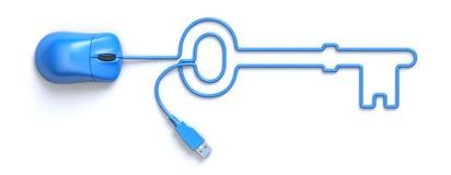 Blauwe muis en kabel in de vorm van sleutel Royalty-vrije Stock Foto's
