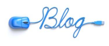 Blauwe muis en kabel in de vorm van woord-blog Stock Foto's