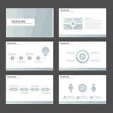 6 blauwe Multifunctionele Infographic-elementen en het het malplaatje vlakke ontwerp van de pictogrampresentatie plaatsen voor de Stock Fotografie