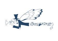 Blauwe musicus Musicusengel vector illustratie