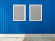 Blauwe muurkleur en wit frame van binnenland Royalty-vrije Stock Afbeelding