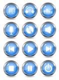 Blauwe muziek glanzende pictogrammen Stock Afbeeldingen