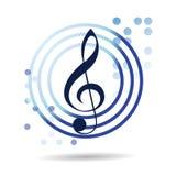 Blauwe muziek Vectorcirkel Logo Design Royalty-vrije Stock Afbeelding