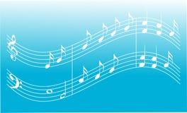 Blauwe muziekachtergrond Stock Foto