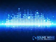 Blauwe muziekequaliser Stock Foto's