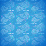 Blauwe naadloze achtergrond met lineaire shells Royalty-vrije Stock Afbeelding