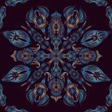 Blauwe naadloze oosterse bloemen de pauwveren van het kantpatroon Royalty-vrije Stock Foto's