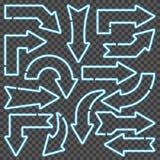 Blauwe neonpijlen Stock Foto's