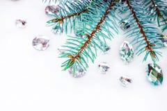 Blauwe nette tak met kristallen voor decoratie Stock Fotografie
