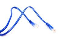 Blauwe netwerkkabel. stock fotografie