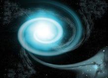 Blauwe nevel bij ruimte, heelal Stock Foto