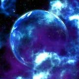 Blauwe nevel met planeet royalty-vrije illustratie