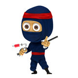 Blauwe ninja stelt Stock Fotografie