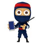 Blauwe ninja stelt met smartphone Stock Fotografie