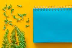 Blauwe notitieboekje Groene bladeren minimaal op Gele achtergrond stock foto's