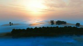 Blauwe oceaan boseilanden bij zonsondergang stock illustratie