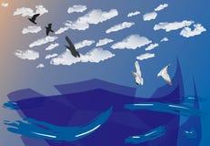 Blauwe oceaanachtergrond, Stock Afbeelding