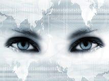 Blauwe ogen en kaart Stock Afbeeldingen