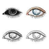 Blauwe ogen van een mens die aan diabetes lijdt Briljante ogen van hoge bloedsuiker Diabetes enig pictogram in beeldverhaalstijl Royalty-vrije Stock Foto's