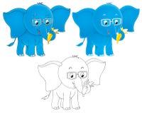 Blauwe olifant die oogglazen draagt Stock Afbeelding