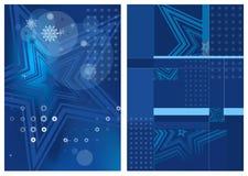 Blauwe onscherpe abstracte Kerstmisachtergronden met witte sterren Stock Afbeeldingen
