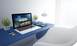 blauwe ontvankelijke studio met de apparaten van de pookwebsite Stock Foto's