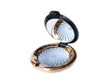 Blauwe oogschaduw met geïsoleerde- spiegel Stock Foto