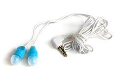Blauwe oortelefoons Stock Foto's