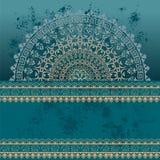Blauwe oosterse mandalaachtergrond van de grungehenna Stock Afbeelding
