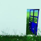 Blauwe open deur die aan groen landschap buiten kijkt Stock Fotografie