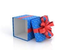 Blauwe open Giftdoos met rode lint en boog Royalty-vrije Stock Fotografie