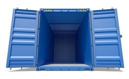 Blauwe open verschepende container Stock Afbeelding