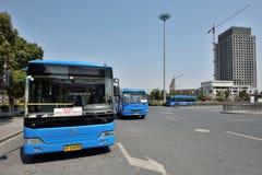Blauwe openbare bussen Royalty-vrije Stock Foto's