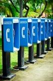 Blauwe openbare telefoon royalty-vrije stock afbeeldingen