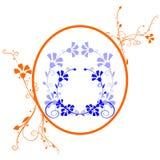 Blauwe oranje bloemenachtergrond Royalty-vrije Stock Foto's