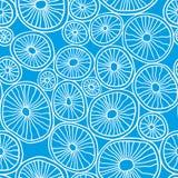 Blauwe organische rondes Modieuze structuur van natuurlijke cellen Hand getrokken abstracte achtergrond Royalty-vrije Stock Foto