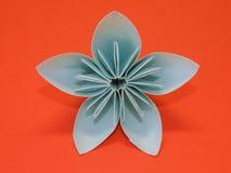 Blauwe origamibloem Stock Afbeelding