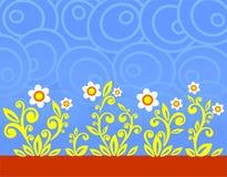 Blauwe ovalen en bloemen Stock Foto's