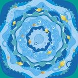 Blauwe overzees met vissen, vector Royalty-vrije Stock Afbeeldingen