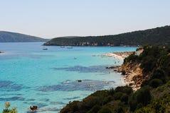 Blauwe overzees in Strand Italië Stock Foto