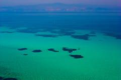 Blauwe overzeese exotische bestemming Stock Foto
