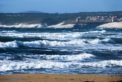 Blauwe overzeese golven Stock Fotografie
