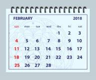 Blauwe pagina Februari 2018 op mandalaachtergrond Stock Afbeelding
