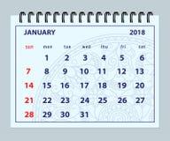 Blauwe pagina Januari 2018 op mandalaachtergrond Royalty-vrije Stock Afbeeldingen