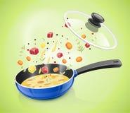 Blauwe pan met deksel Keukenvaatwerk kokend voedsel stock illustratie