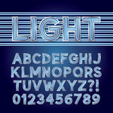 Blauwe Parallelle Neonlichtalfabet en Aantallen Stock Afbeelding